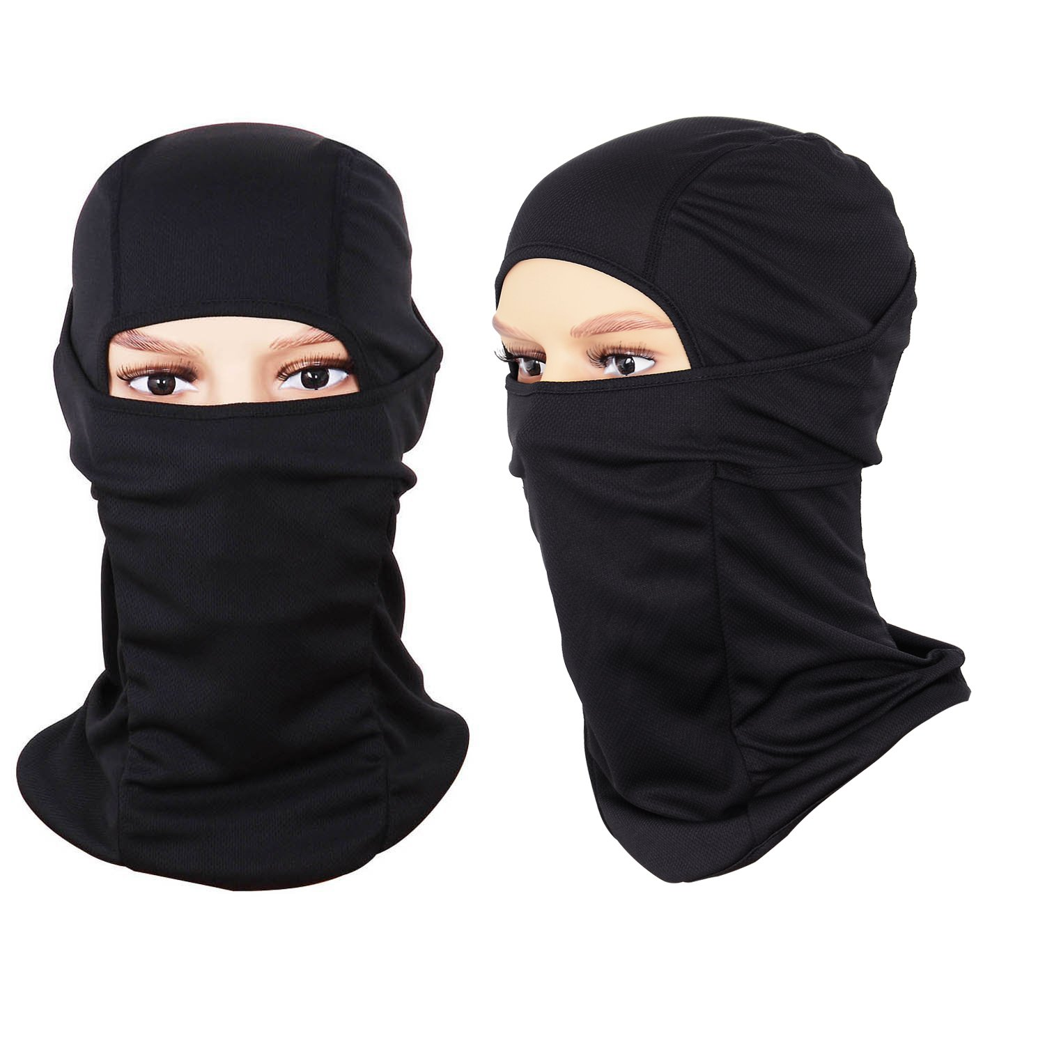 Sports Balaclava 2-Pack Face Mask Motorcycle Helmets Liner Ski Gear Mountain Neck Gaiter by The Friendly Swede (Black)