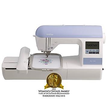 Brother PE770 Eléctrico - Máquina de coser (Violeta, Blanco, Bordado, LCD,
