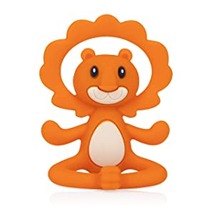 Nuby Yogis All Silicone Soothing Teether, Lion