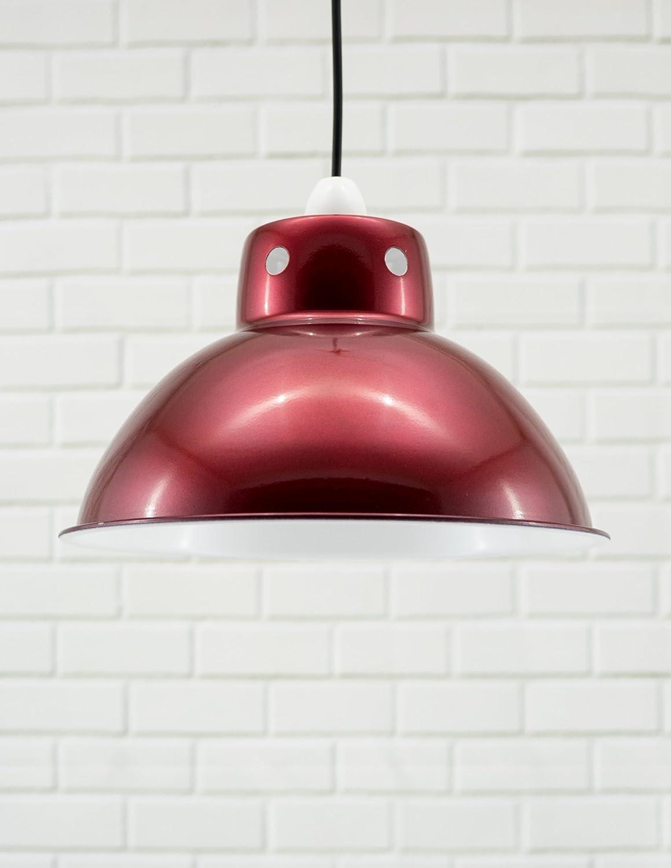 metallic pendant lighting design discoveries. Funky Cafe Style Retro Ceiling Light Pendant Metal Shade, Modern Industrial Vintage Look, 300mm Diameter (Metallic Red / White Inside): Amazon.co.uk: Metallic Lighting Design Discoveries S