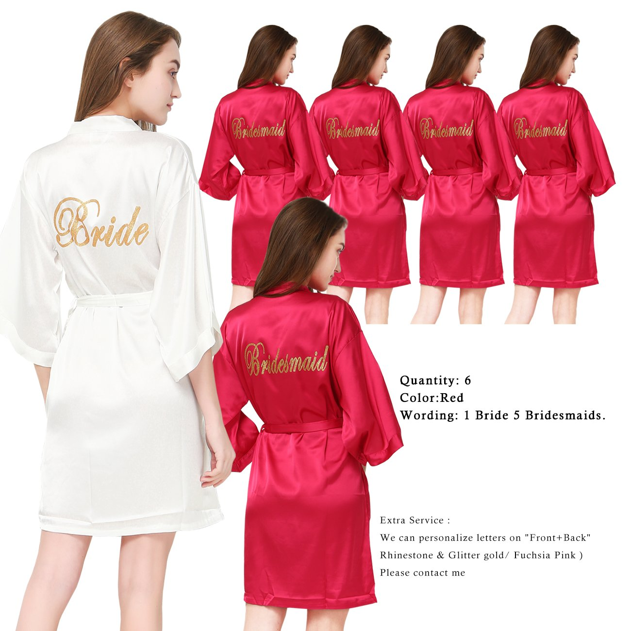 PROGULOVER Set Of 6 Women's Satin Kimono Robe For Bride Bridesmaid With Gold Glitter Wedding Party Maid Of Honor Robes