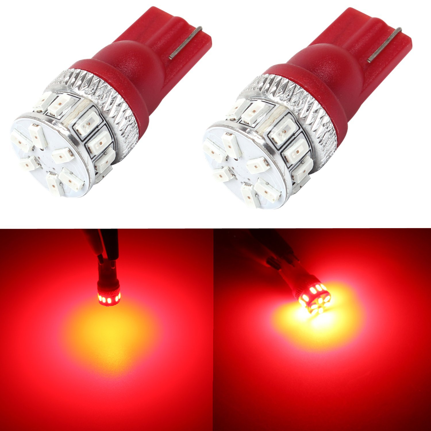 Alla Lighting Super Bright T10 194 Red LED Bulbs High Power 3014 18-SMD 12V LED 194 168 2825 175 W5W Bulb T10 Wedge for License Plate Interior Map Dome Trunk Side Marker Lights, Pure Red (Set of 2)