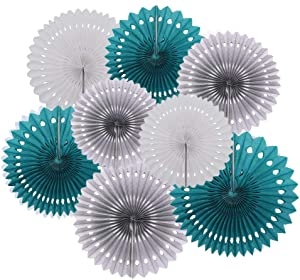 8PCS Teal Grey White Hanging Paper Fan Teal Party Fan Rosettes Circle Garland for Teal Wedding Bridal Shower Teal Blue Baby Shower Mermaid Birthday Party Backdrop Decorations