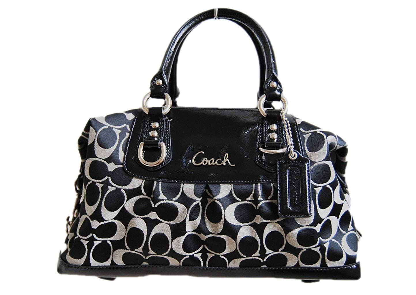 4853809d5ebc Amazon.com  Coach Ashley Signature Sateen Satchel Coach Purse – Black  F15443 SLCBK SV Black Grey Black  Shoes