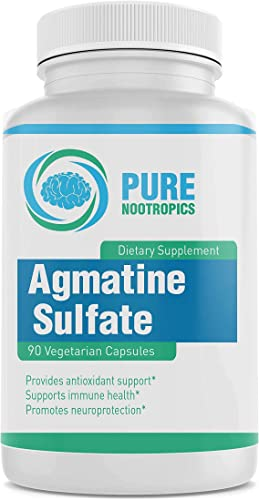 Pure Nootropics -Agmatine Sulfate 500 mg Capsules 90 Veg Cap Value Pack Energy, Muscle Endurance Workout Supplement in House Rigorous 3rd Party Testing for Higher Purity Potency