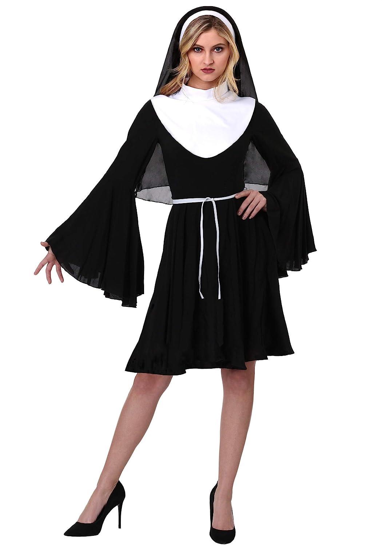 Womens Sassy Nun Fancy Dress Costume Small