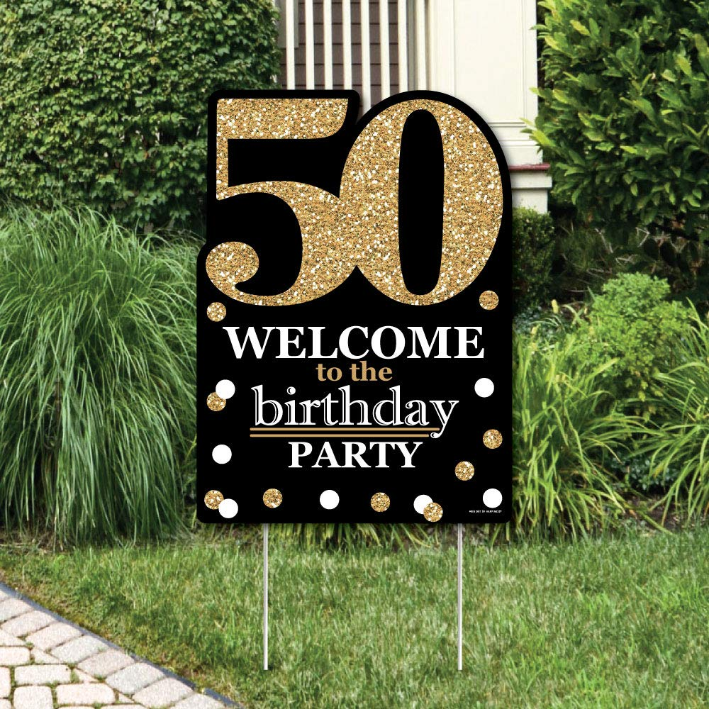 Big Dot Of Happiness Adult Birthday Gold Party Decorations Welcome Yard Sign Garden Outdoor