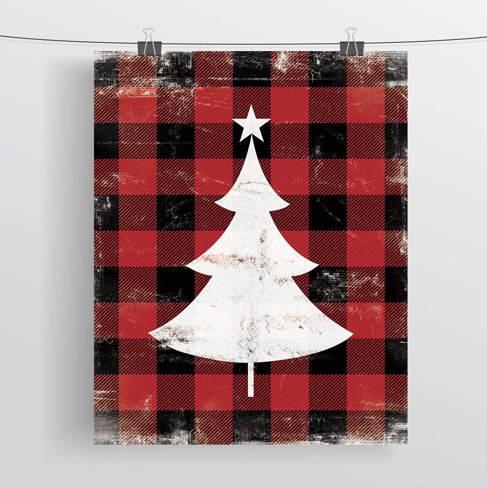 SUMGAR Rustic Wall Art Prints Holidays Ornament Painted on Red Black Buffalo Check Plaid Background Home Decorations Unframed,8x10x3pcs