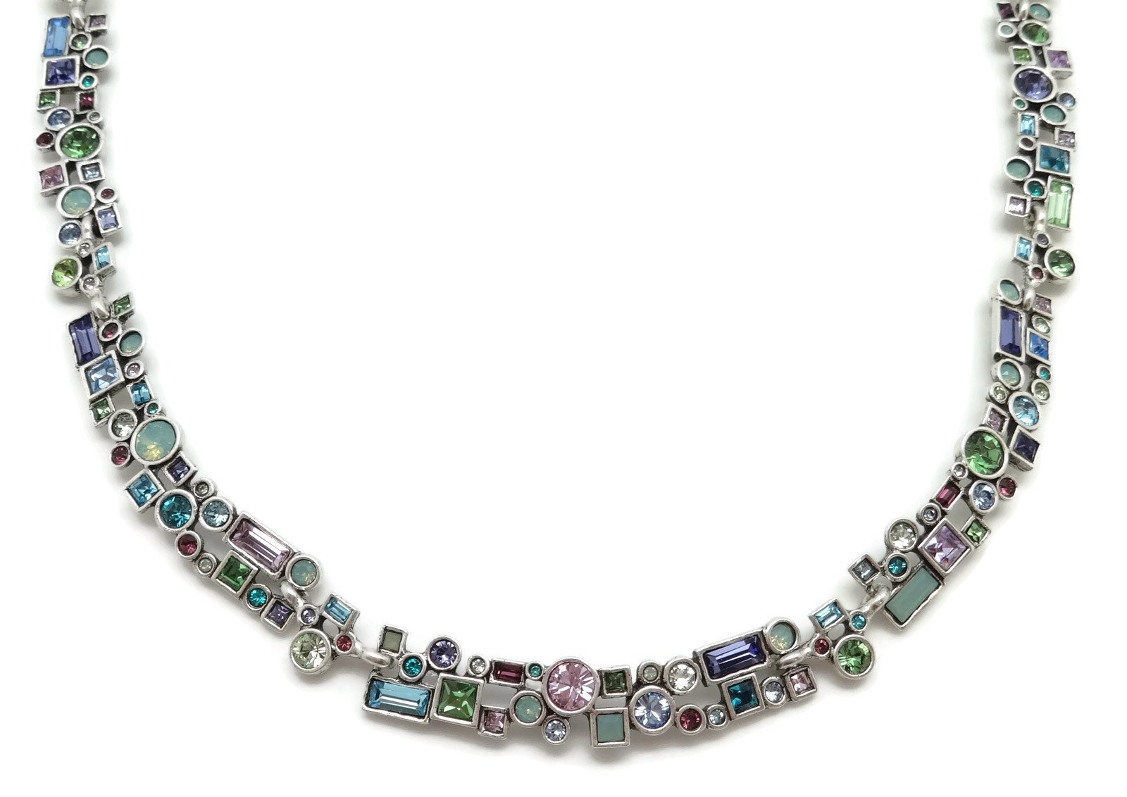Patricia Locke Waterlily Multi Color Confetti Swarovski Crystal Silver Plated Necklace