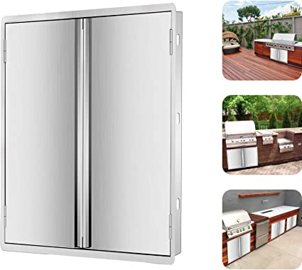 with Vents Marada 27 W x 22 H Double Outdoor Kitchen Doors,304 Stainless Steel Access BBQ Doors All Brushed Flush Mount Double Wall Door for BBQ Island /& Grill,Outdoor Kitchen