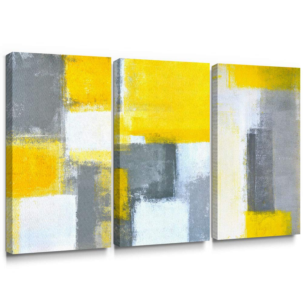 SUMGAR Abstract Canvas Wall Art Living Room 3 Piece Modern Paintings Large Yellow Pictures Gray Artwork Prints,16x32 in