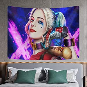 Augetomn Harley Quinn Tapestry Movie Wall Tapestry for Decorating Rooms, Bedrooms 4060inch