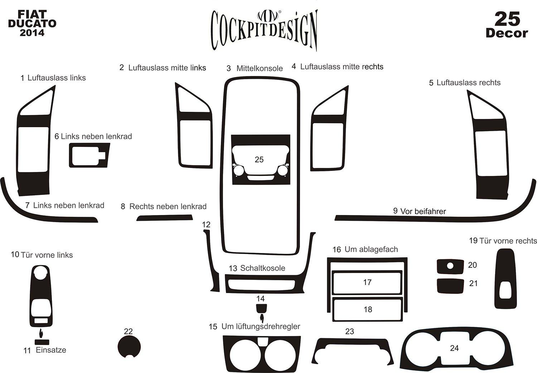 MERIC Cockpit Dekor (CD-AL00131) Exclusive 3D Ausfü hrung, 25 Teile, Farbe: Aluminium