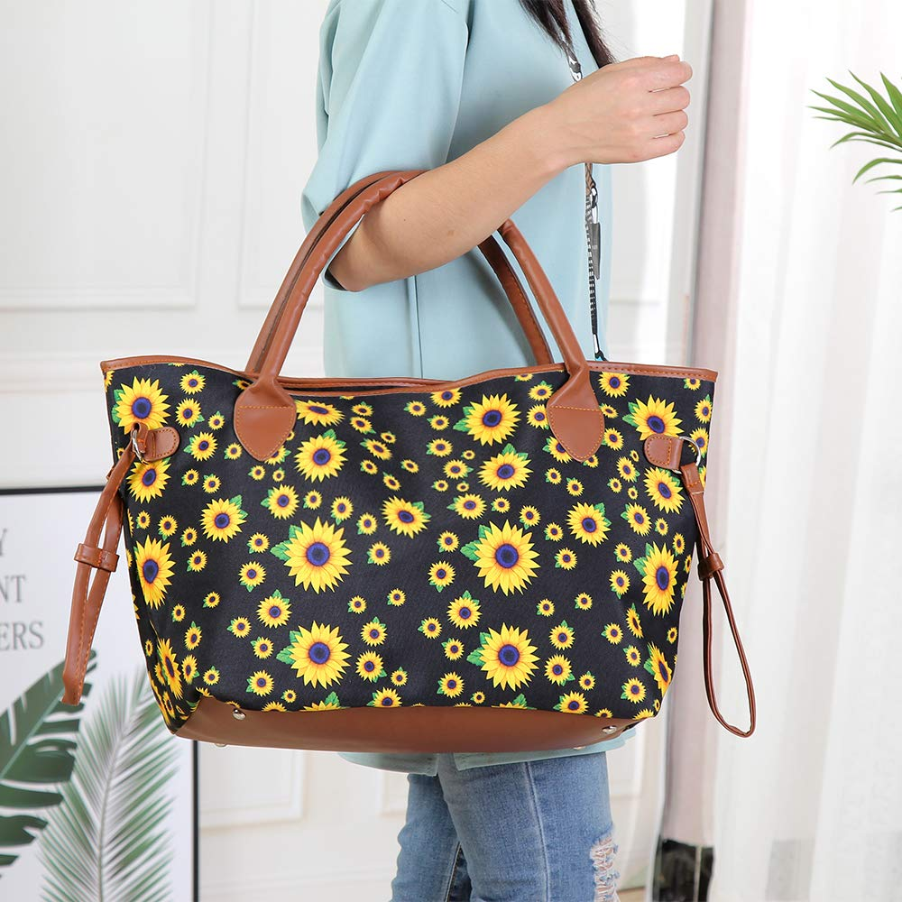 Sunflower Tote Bag For Women Canvas Large Handbag Shoulder Bag With Purse Set