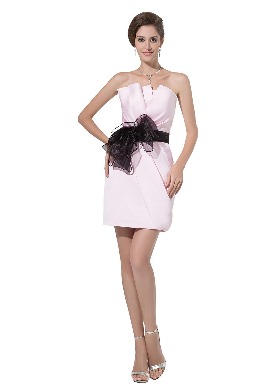 Dresstells Chic Damen Kleid Mini Satin Cocktailkleid Ballkleider mit Gürtel und Schleife
