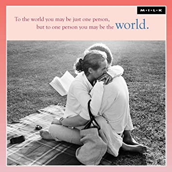 To One Person You May Be The World Greeting Card Square Milk Range Cards Amazoncouk Office Products