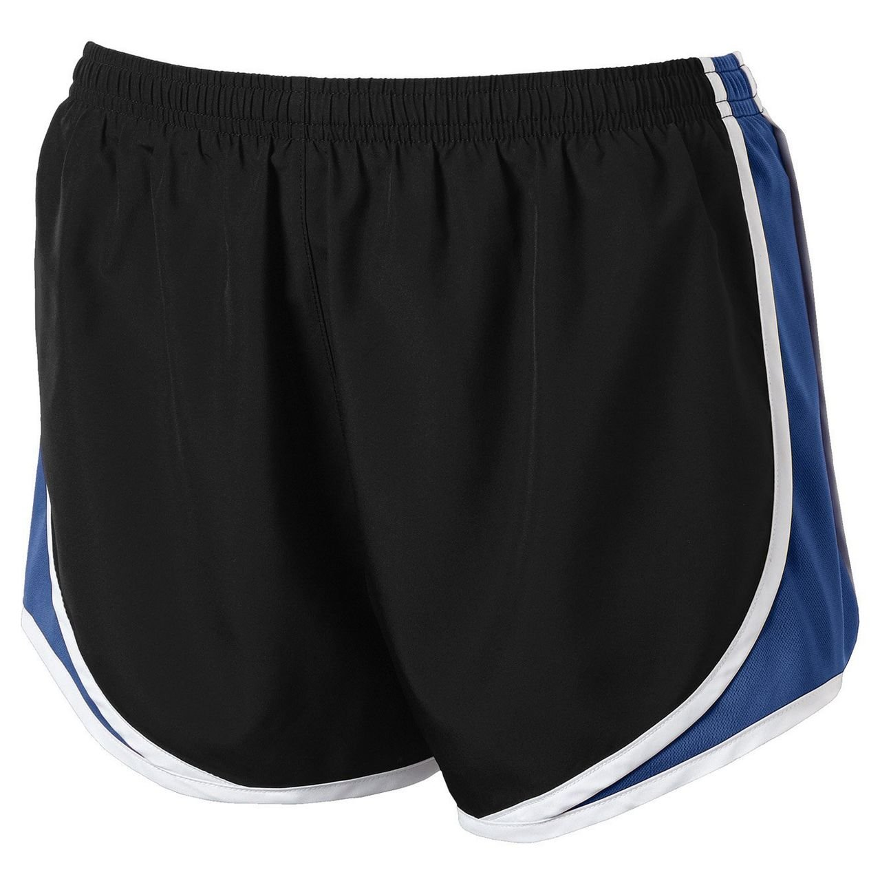 Clothe Co. Ladies Moisture Wicking Sport Running Shorts, Black/True Royal/White, XS