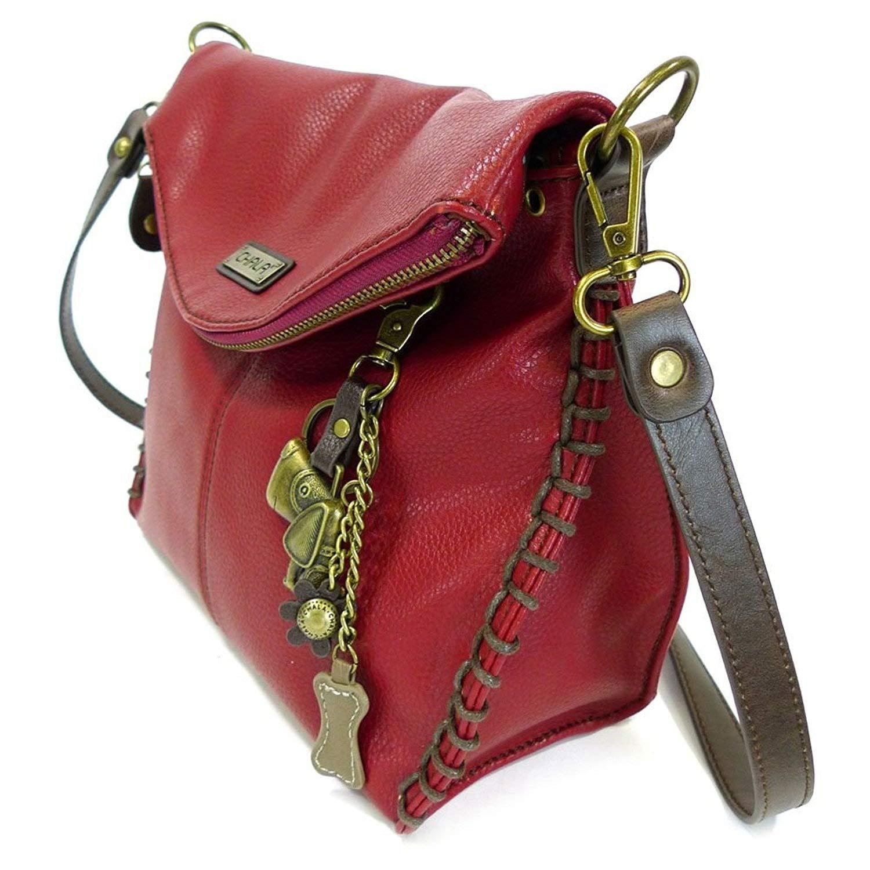 Burgundy Chala Charming Crossbody Bag with Zipper Flap Top and Metal Chain