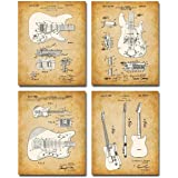 Original Fender Guitars Patent Art Prints - Set of Four Photos (8x10) Unframed - Makes a Great Gift Under $20 for Electric Gu