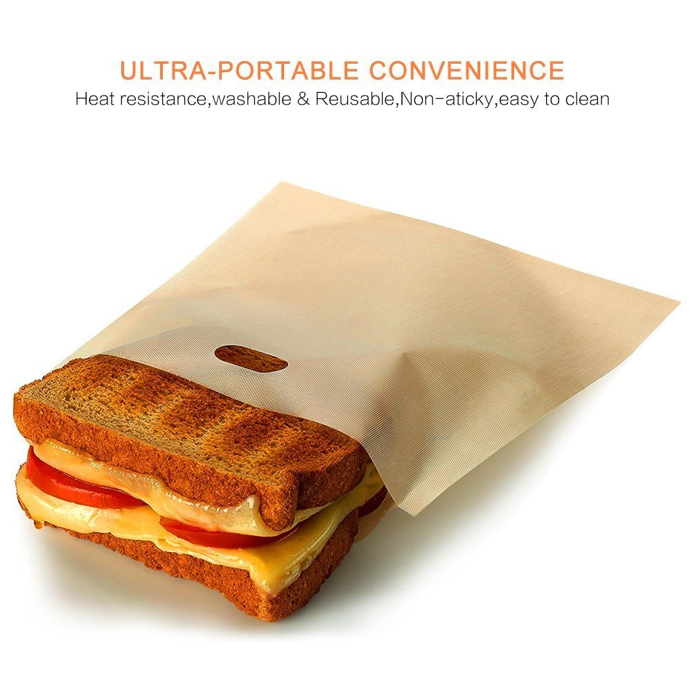 10 Pack AZSTAR Non-Stick Microwave Oven Toaster Bags for Grilled Cheese Sandwiches Chicken Nuggets Panini and Garlic Toasts Toaster Bag Reusable