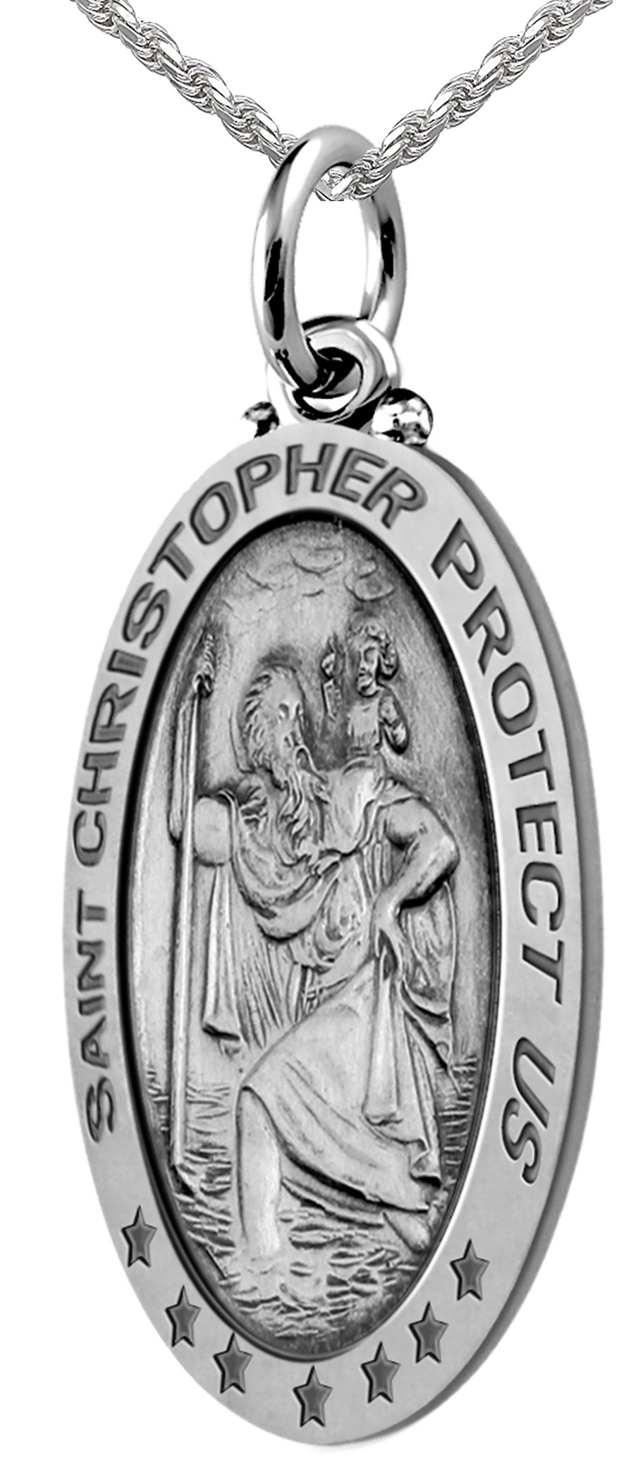 1.25in Men's 0.925 Sterling Silver St Christopher Antique Pendant 2.0mm Box Necklace, 24''