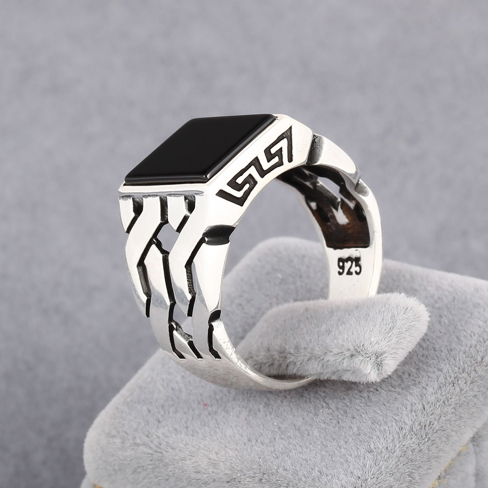 Chimoda Turkish Handmade Jewelry Black Onyx Stone 925 Sterling Silver Men's Ring (9) by Chimoda (Image #8)
