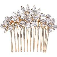 Ever Faith Austrian Crystal Wedding Flower Leaf Hair Side Comb