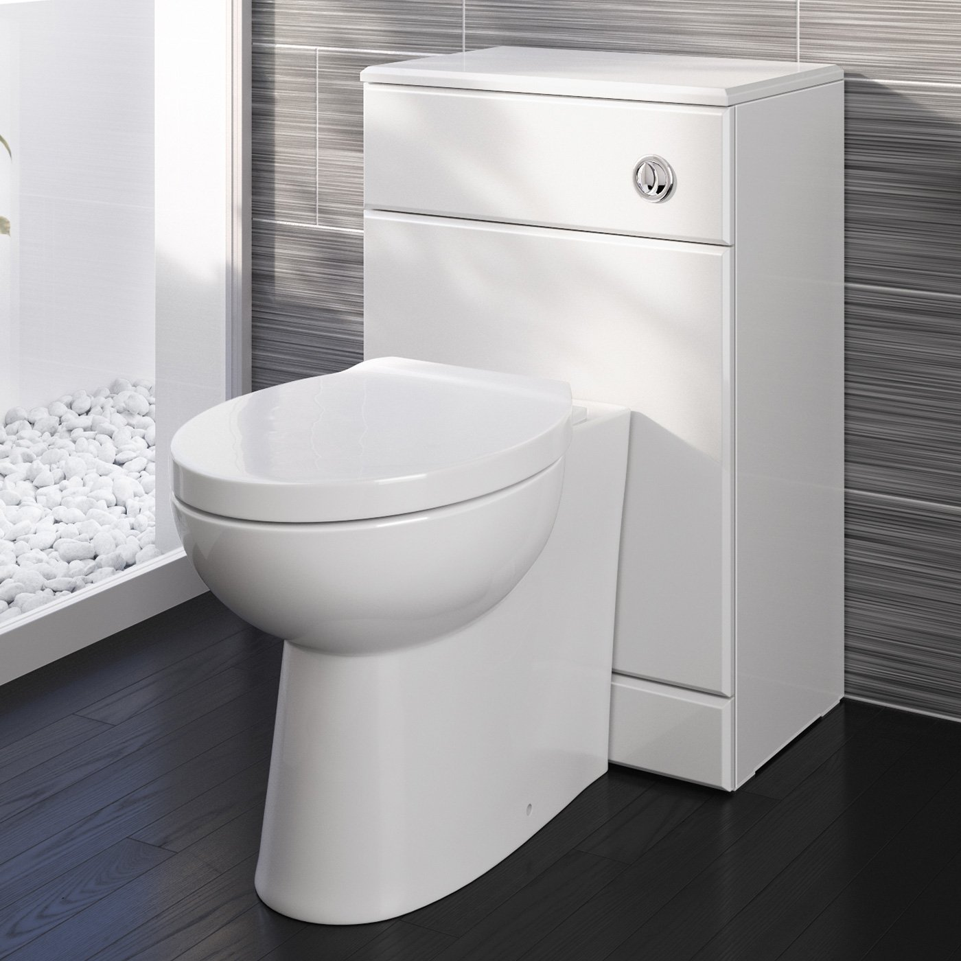 iBathUK Modern Back To Wall Toilet with Soft Close Seat White Gloss WC Furniture Unit BS2880