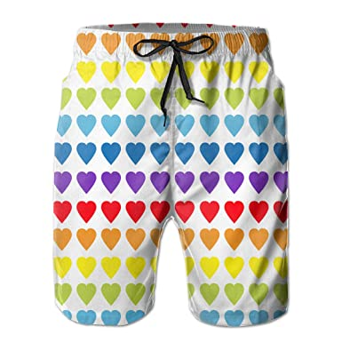 92440399e1558 Amazon.com: Men's Rainbow Heart Gay Print Drawstring Quick Dry Swim Trunks  Board Shorts Beach Short: Clothing