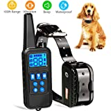 Dog Training Collar with Remote Waterproof Shock Collar 800 Yards Control with Beep Vibration and Harmless Shock Rechargeable No Barking Collar for Small Medium Large Dog