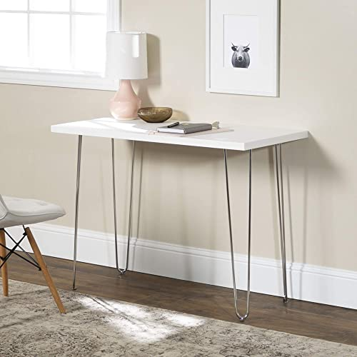 Walker Edison Furniture Company Mid Century Modern Hairpin Wood Laptop Computer Writing Desk Home Office Workstation Small