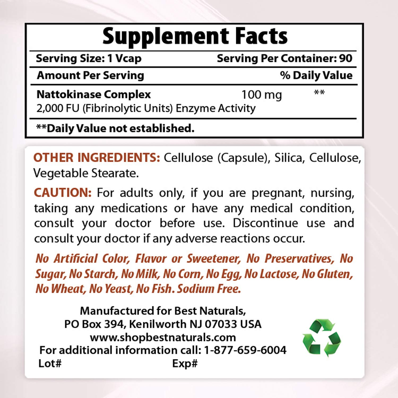 Amazon.com: Best Naturals nattokinase, 2000 FU, 100 mg, 360 ...