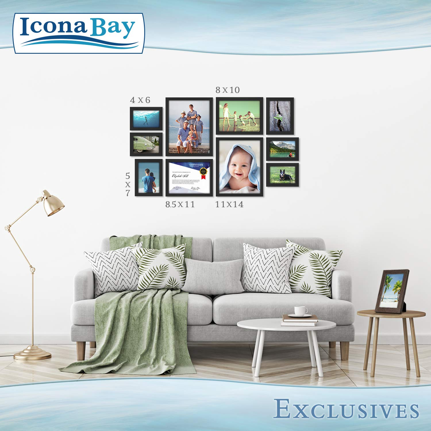 Icona Bay 8.5x11 Diploma Frame (12 Pack, Black), Black Sturdy Wood Composite Certificate Frame, Document Frame Bulk, Wall or Table Mount, Set of 12 Exclusives Collection by Icona Bay (Image #6)