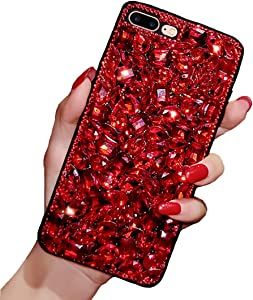 iPhone 6 6s Crystal Case, Luxury Fashion Bling Red Rhinestones Glitter Diamond Soft Silicone Protective Phone Case Beauty Shiny Sparkling Cover for Girls (Red, iPhone 6 / 6s)