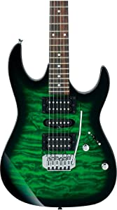 Ibanez 6 String Solid-Body Electric Guitar, Right, Transparent Green Burst (GRX70QATEB)
