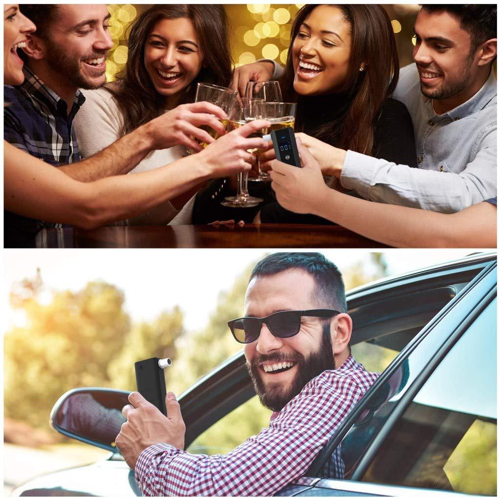 OUCAXIA Alkoholtester Alkoholmessger/äte,Professioneller Akkurater Tragbares Halbleiter Sensorik Digitaler LCD Bildschirm Polizeigenau Alkohol Tester mit 10 Mundst/ücke