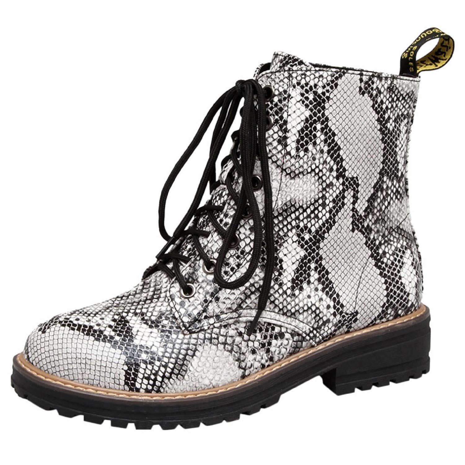 Women Snakeskin Print Boots,Tsmile Flat Platform Lace Up PU Leather Slip On Low Heel Non-Slip Rubber Chic Booties Silver by Tsmile Winter