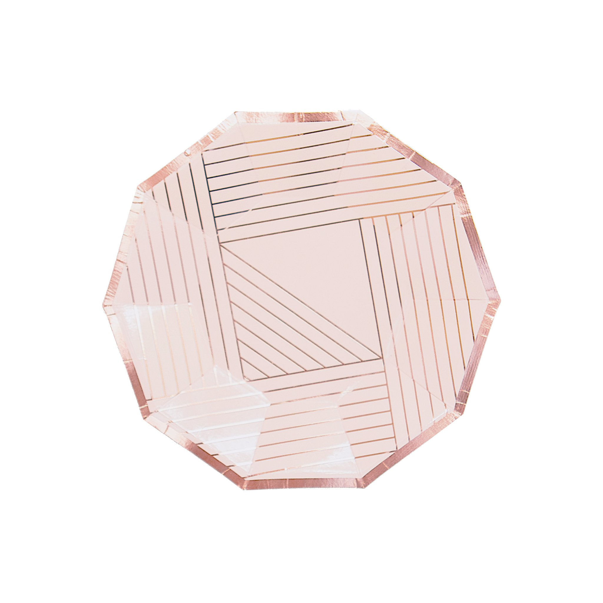 Pale Pink w Rose Gold Striped Small Paper Plates - Birthday, Wedding, Showers Disposable Party Plates - Harlow & Grey Manhattan (8 Count)