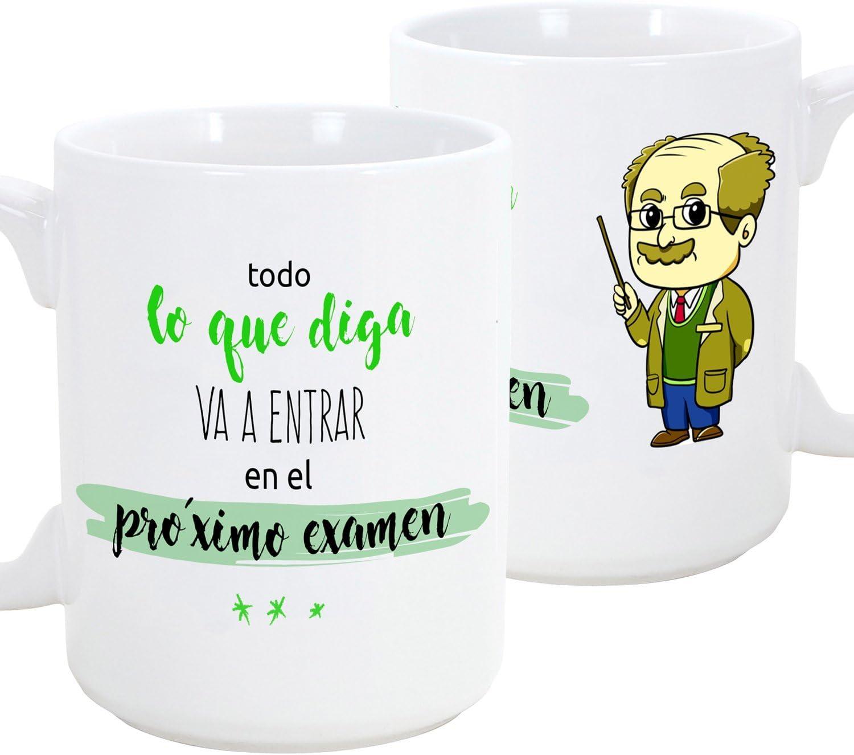 MUGFFINS Taza de Desayuno Original para Regalar a Trabajadores Profesionales - Regalo para Profesores - Todo lo Que Diga va a Entrar en el próximo Examen (Hombre) - Cerámica 350 ml (1 Unidad)