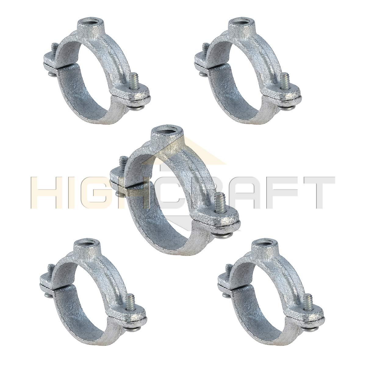Highcraft HST-G04-5 2PC Split Ring Pipe Hanger Galvanized Iron, 4 inches, Chrome, 5 Pack by Highcraft