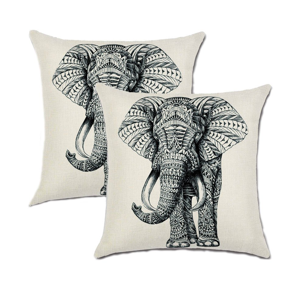 Jahosin Set of 2 Throw Pillow Covers 18 X 18 Inches,Decorative Elephant Cushion Case (Sketch Elephant)