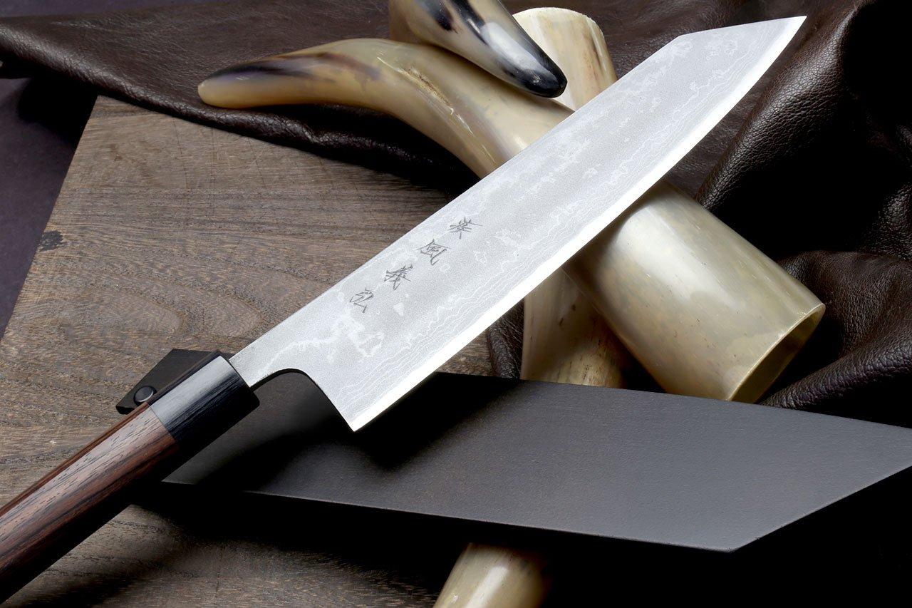 Yoshihiro Mizu Yaki 16 Layers Suminagashi Blue Steel #1 Kiritsuke Multipurpose Japanese Chef Knife, Shitan rosewood Handle (8.25 IN) with Nuri Saya Cover by Yoshihiro (Image #4)