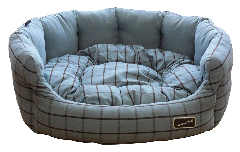 bluee Brown 18 x 15 x 8-inch 45 x 40 x 19 cm bluee Brown 18 x 15 x 8-inch 45 x 40 x 19 cm Hem and Boo Cool Cotton Oval Dog Bed, 18 x 15 x 8-inch  45 x 40 x 19 cm, bluee  Brown