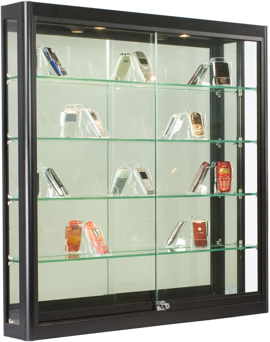 Amazon Com Wall Mounted Black Aluminum Glass Display Cabinet