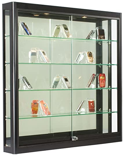 Wall Mounted, Black Aluminum Glass Display Cabinet, Illuminated, Locking  Sliding Glass Doors