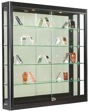 Lovely Wall Mounted, Black Aluminum Glass Display Cabinet, Illuminated, Locking  Sliding Glass Doors
