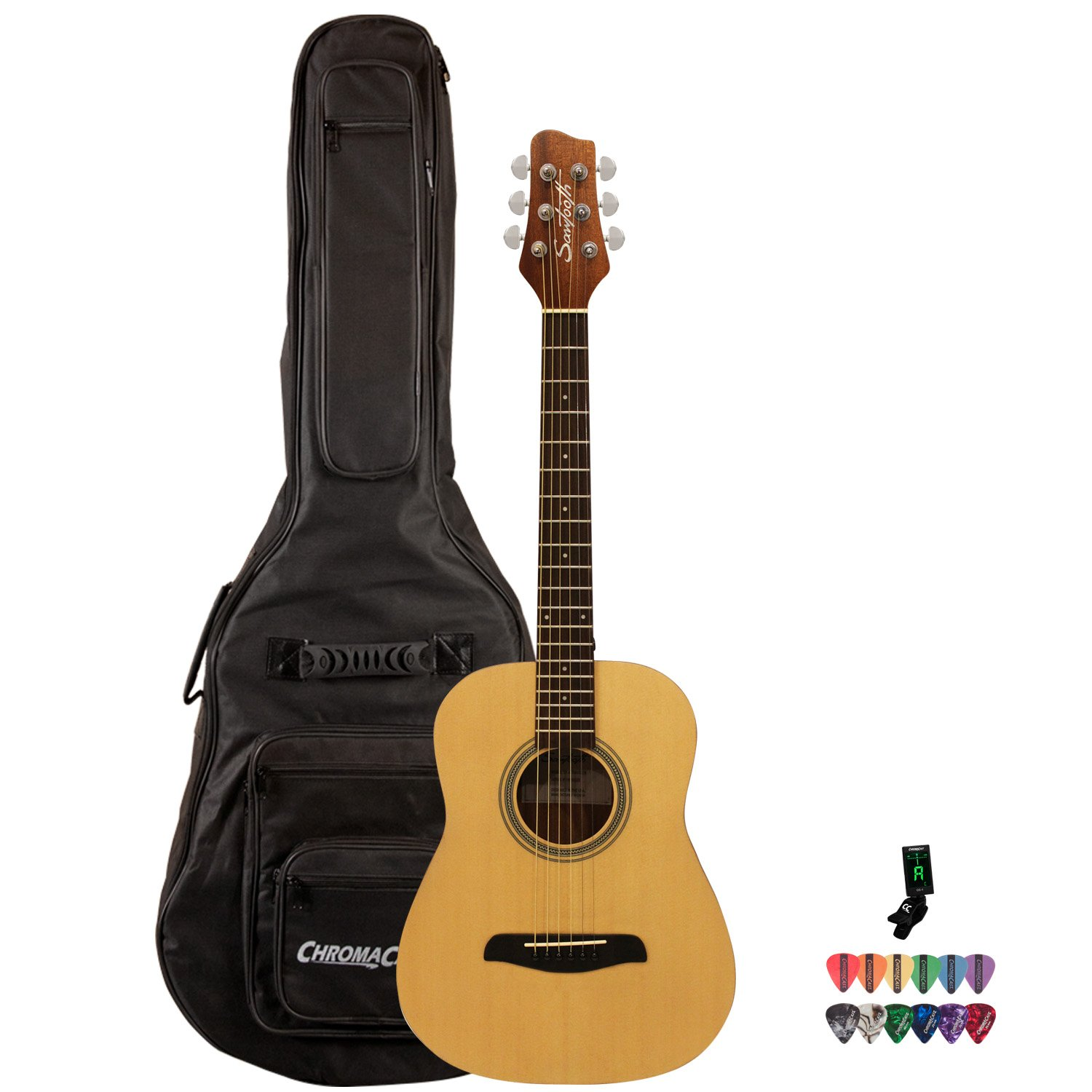 Sawtooth ST-A-TRAVELER-KIT-1 Spruce Traveler Acoustic Guitar with ChromaCast Gig Bag, & Tuner