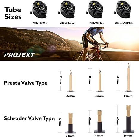 Multi-Pack Projekt Schrader Valve Bicycle Inner Tube 700C 48mm ISO 622 or 27 ISO 630