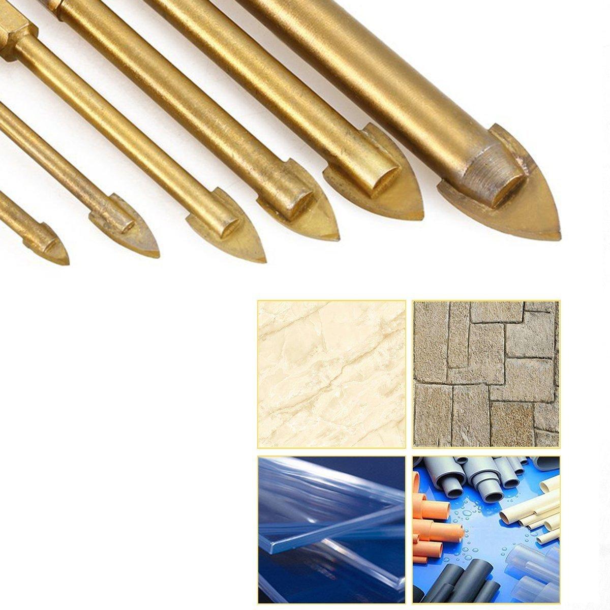 Broca para taladro de cristal de 1//4 hexagonal espejo de cer/ámica aleaci/ón de carburo chapada en titanio para azulejos de vidrio 7 piezas porcelana m/ármol 3//4//5//6//8//10//12 mm