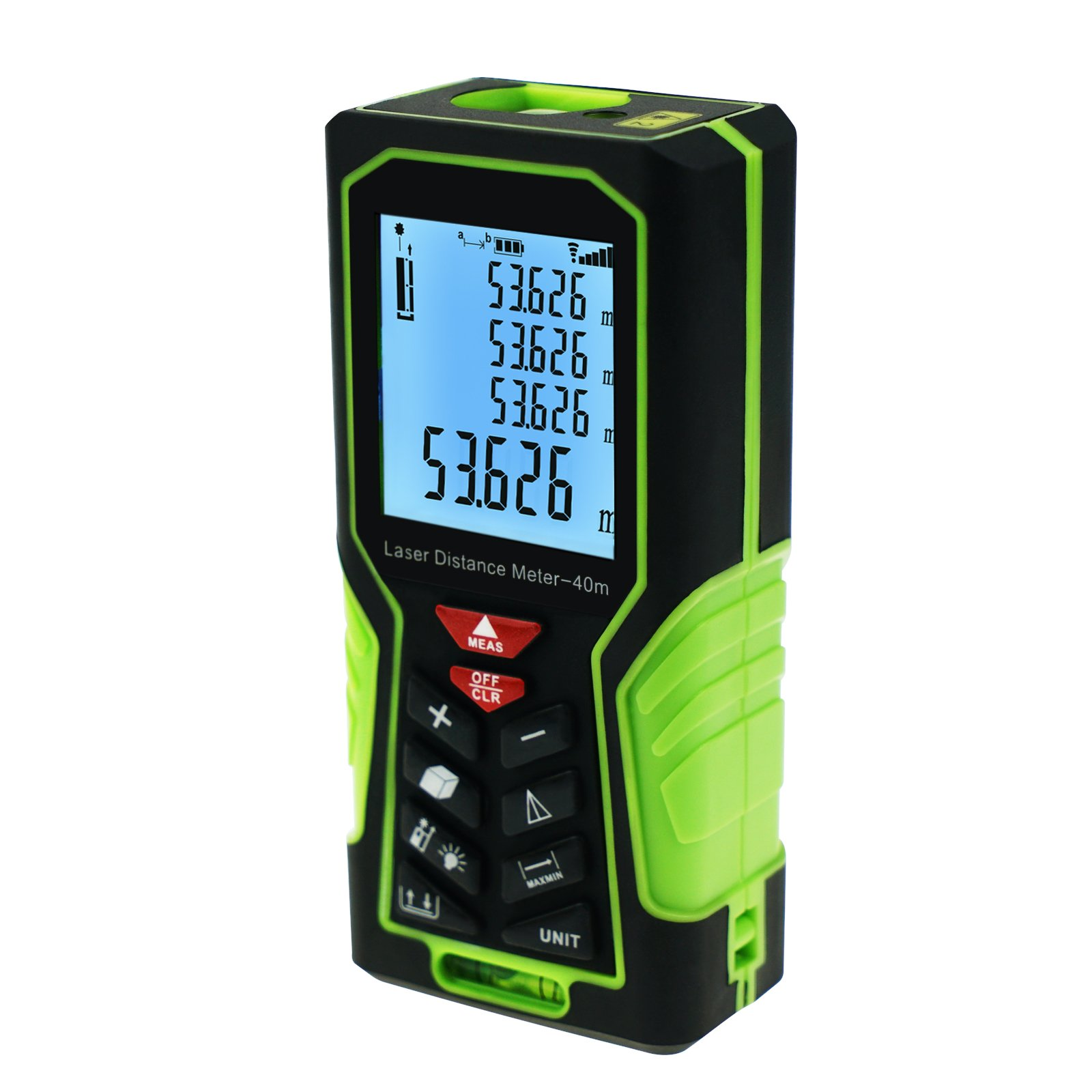 Digital 40M/131ft Laser Measuring Tape Distance Meter, Handheld Range Finder Device Area & Volume Tools with Backlight &Bubble Level, 1mm accuracy